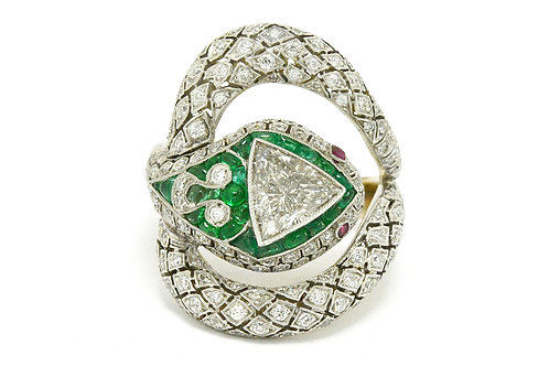 Snake ring trillion cut gem emerald platinum