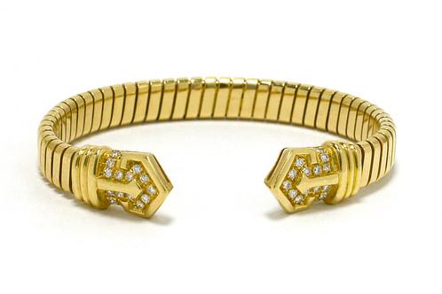 ff9b5f6e0c6 Bulgari Designer Diamond 18K Gold Flex Link Cuff Bangle Bracelet Retired  Bvlgari. $9,250.00 $ 7,200.00. Diamond Snake Bracelet