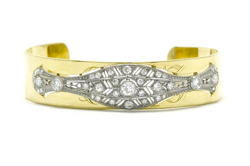 Rochester Art Deco Diamond Bangle Bracelet Filigree Wide Cuff Gold Platinum