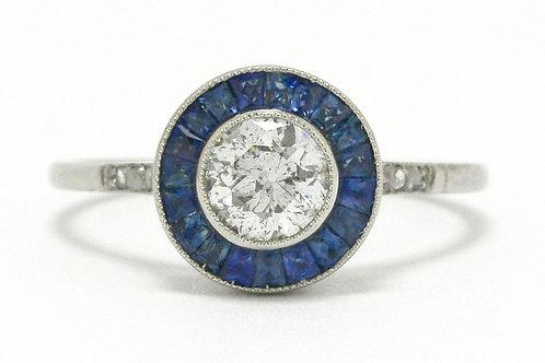 Old European cut diamond platinum bridal ring