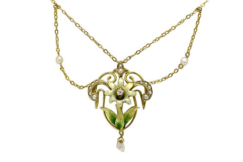 Necklace natural pearl 10K gold two drop swags