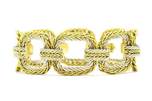 "Vintage Buccellati Woven Link Bracelet Wide 2 Tone Square 8"""