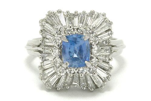 Natural unheated sapphire ballerina ring