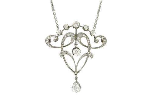 Antique Edwardian diamond necklace pendant platinum