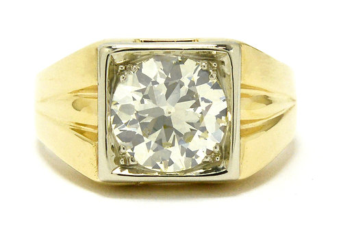 Nevada Mens Art Deco 4.25 Carat Diamond Ring Solitaire Pinky Ring Square Size 14