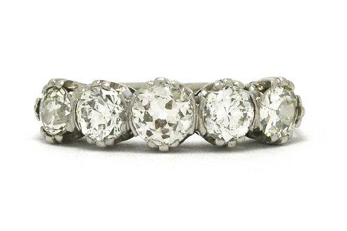 Five diamonds antique platinum wedding bands