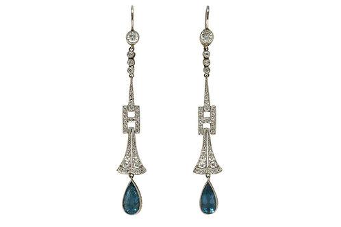 A pair of Art Deco aquamarine diamond drop dangle chandelier earrings
