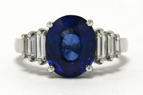 A GIA certified oval blue sapphire Art Deco revival engagement ring