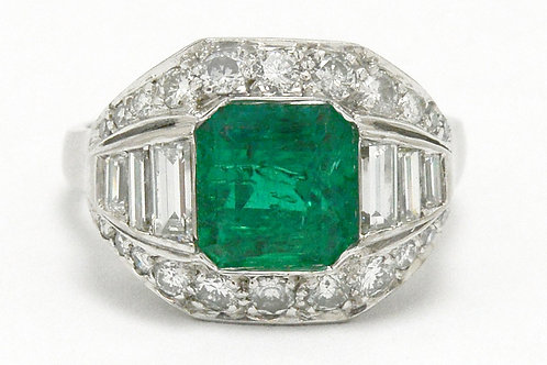 Braunfels Colombian emerald engagement ring