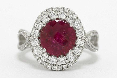 Rubellite Tourmaline Diamond Rings