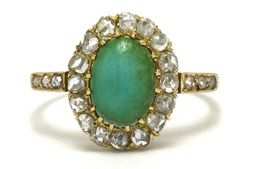 Natural turquoise diamond halo engagement ring