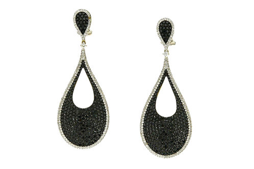 Black diamond 18K white gold drop dangle earrings