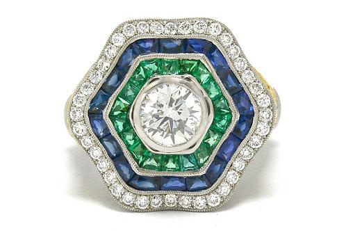 Diamond sapphire emerald ballerina ring platinum hexagon