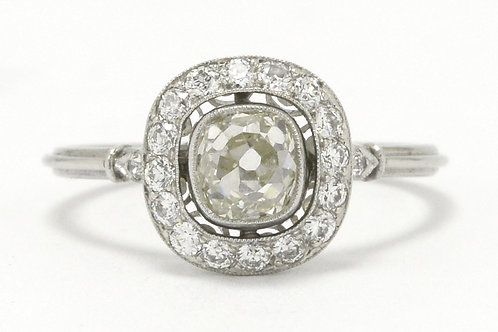 Engagement ring platinum round halo target