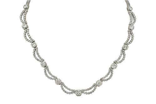 Diamond Art Deco waterfall necklace platinum 15 inches length
