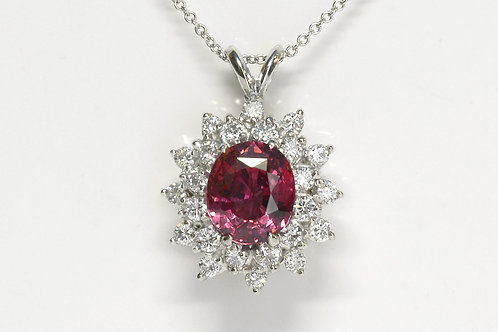 Oval Mixed Pink Sapphire Necklace