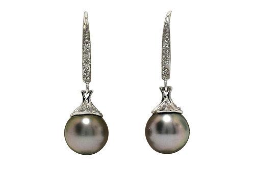 A pair of black Tahitian pearl drop earrings
