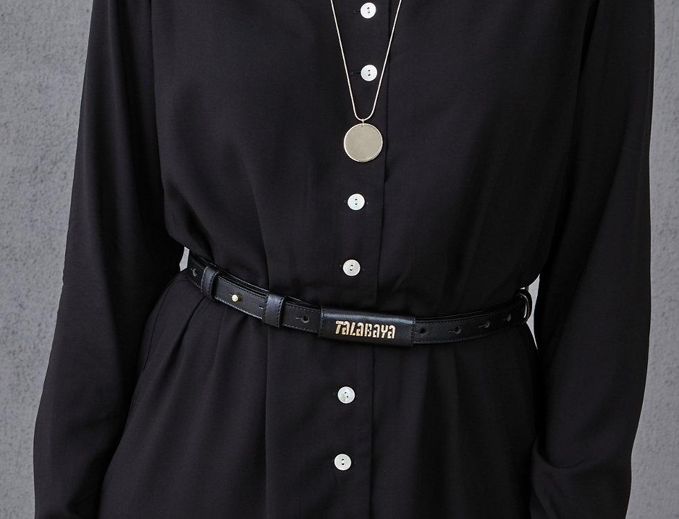 Handmade leather belt TALABAYA black