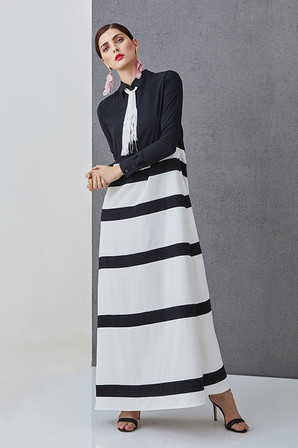LUCIE DIVERSE - Striped long dress with long sleeves
