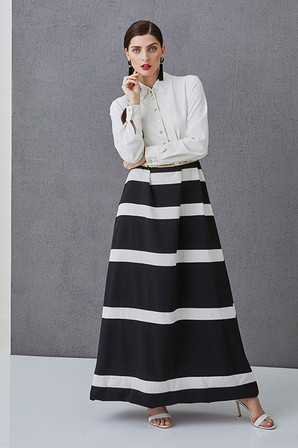 LUCIE - Striped long dress with long sleeves