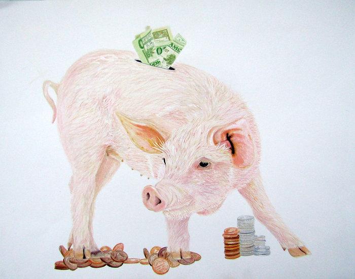 """"""" Money Hog """" original artwork"""