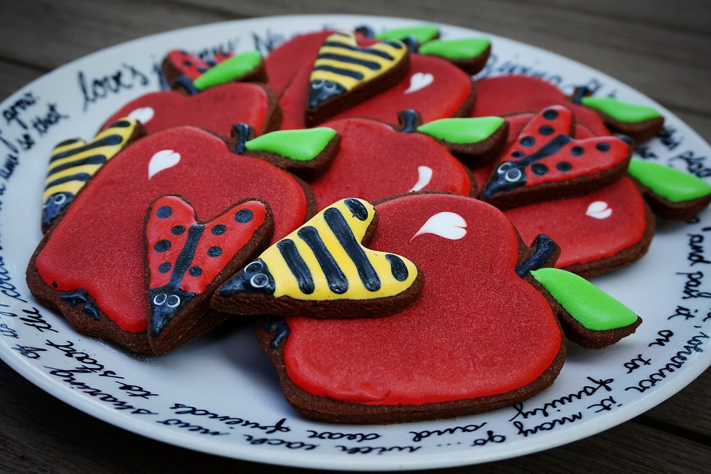 Sharing apple and cutie-pie bug shaped sugar cookies by THREE & ME
