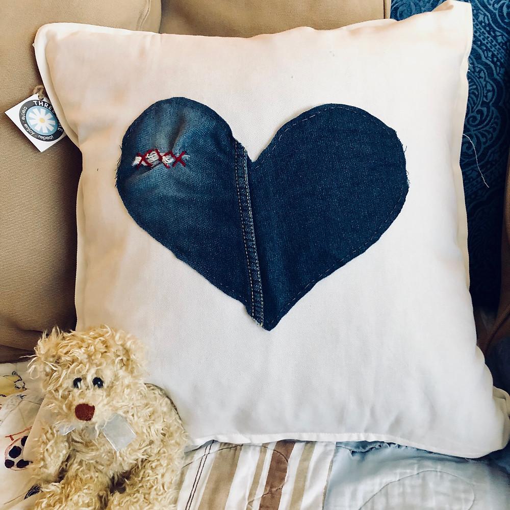 denim heart cushion by www.threeand.me