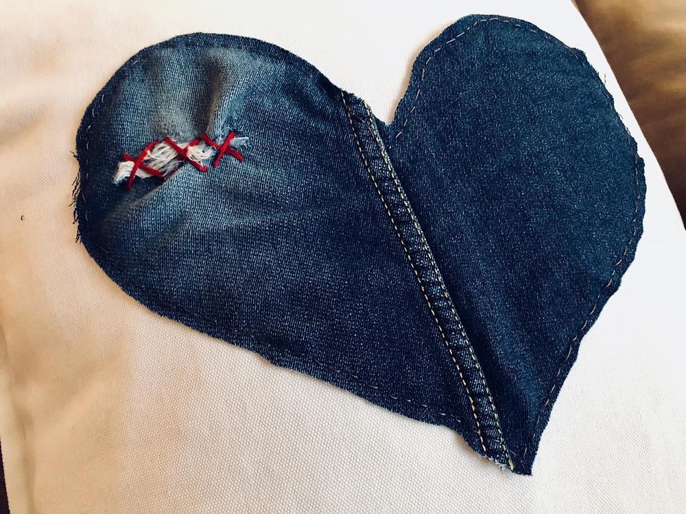 distressed denim cushion by www.threeand.me