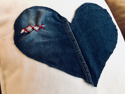 Distressed denim hearts
