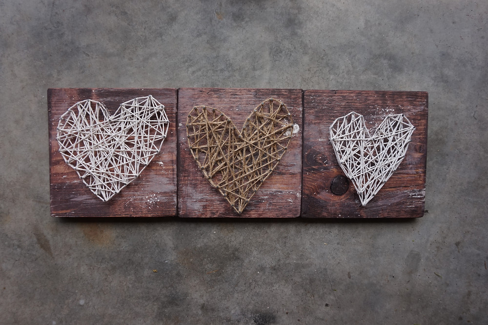 String and nail hearts by THREE & ME
