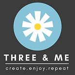 www.threeand.me art and craft events logo