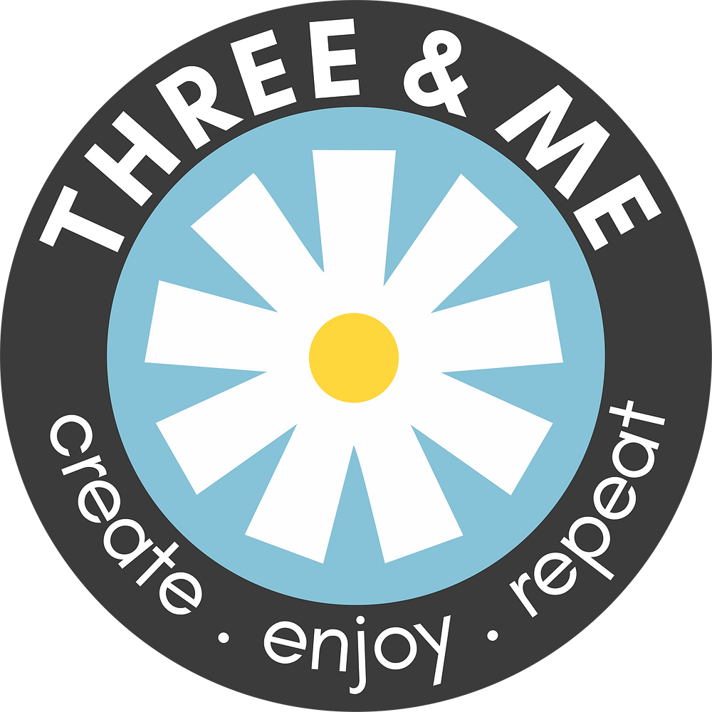 www.threeand.me logo create. enjoy. repeat.