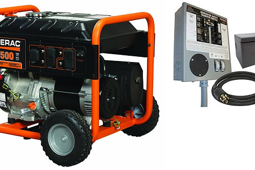 Generac GP 5500 Portable Generator with 6-10 circuit Transfer Switch