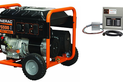 Generac GP 5500 Portable Generator with 8-10 circuit Transfer Switch