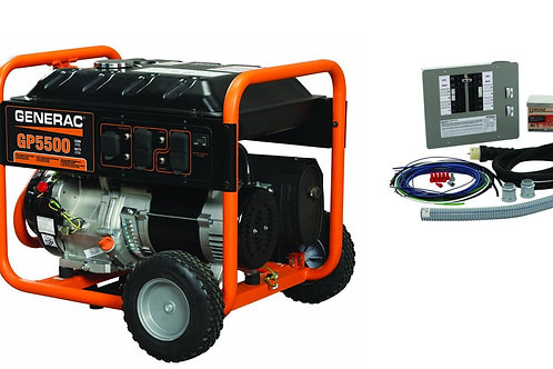 Generac GP 5500 Portable Generator with 10-16 circuit Transfer Switch