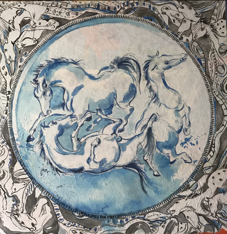 Abandonded horses - blue