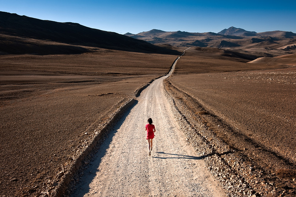 Lone runner with long road ahead