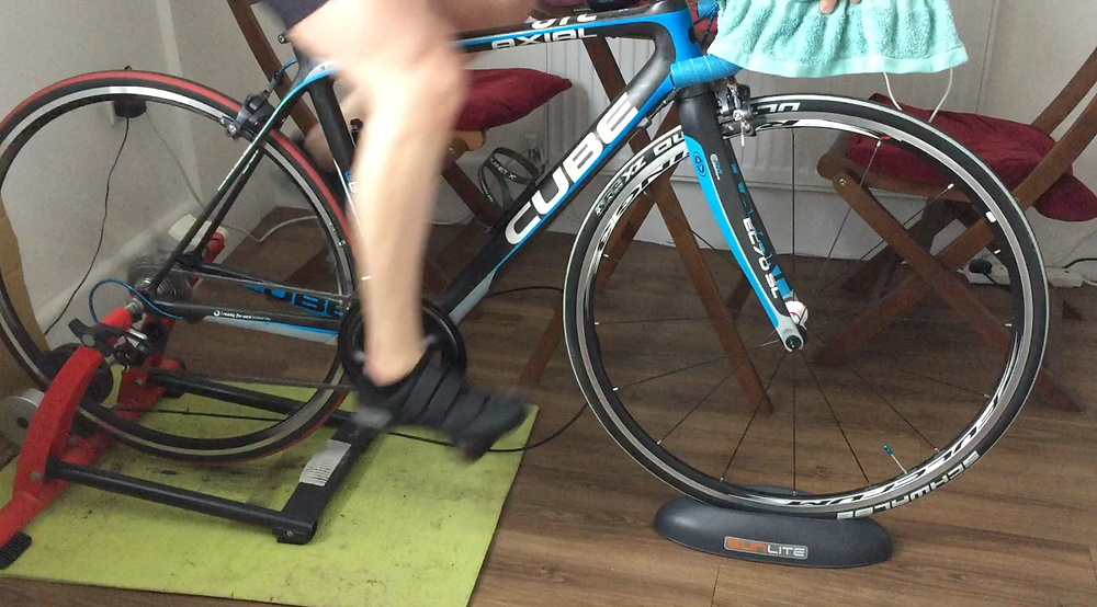Athlete using a turbo trainer