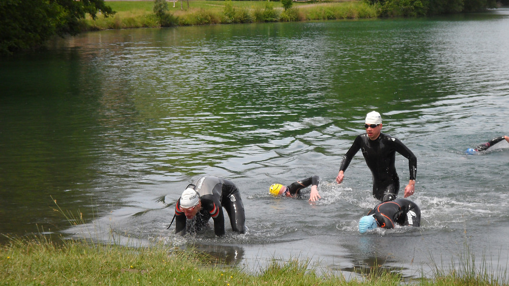 Practising water entry and exits in a lake
