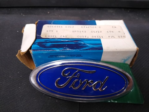 83-86 Ford Rear hatch/trunk nameplate-Light Blue-NOS