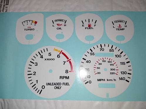 84-86 Mustang SVO White face gauge overlay kit