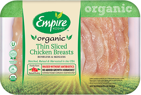 Organic Thin Sliced Boneless Skinless Chicken Breasts