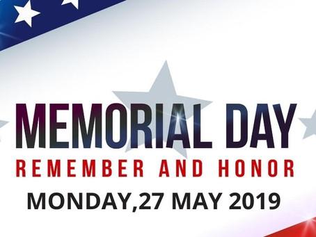 Memorial Day, May 27th, 2019