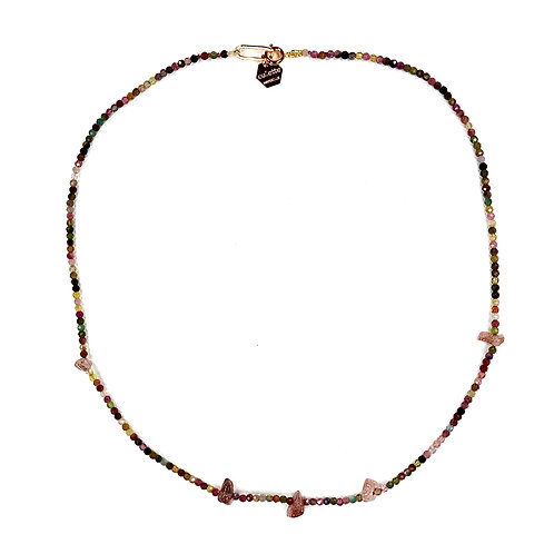 "Collier ""Mélette"" Tourmaline et Strawberry quartz"