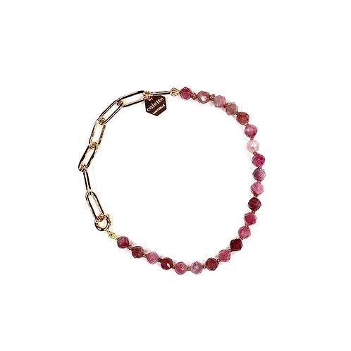 "Bracelet ""Blanche"" Tourmaline rose et chaîne forçat or"