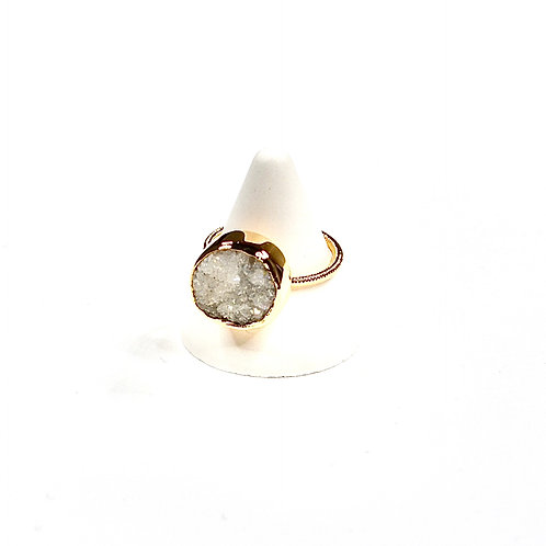 """Bague """"Druzy"""" Agate blanche or"""
