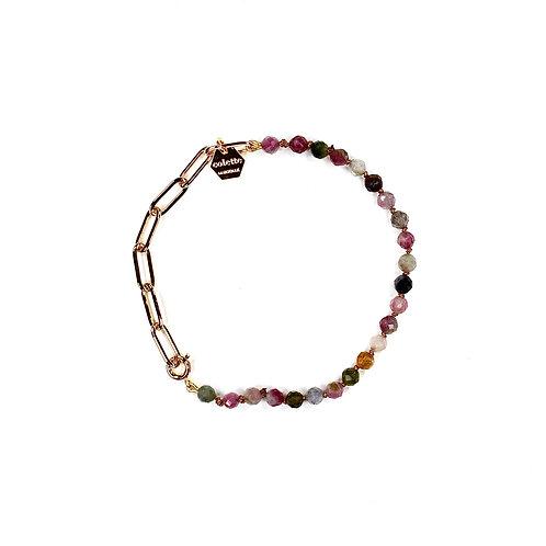 """Bracelet """"Blanche"""" Tourmaline et chaîne forçat or"""