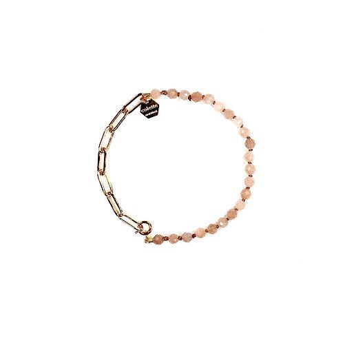 """Bracelet """"Blanche"""" Pierre de lune et chaîne forçat or"""