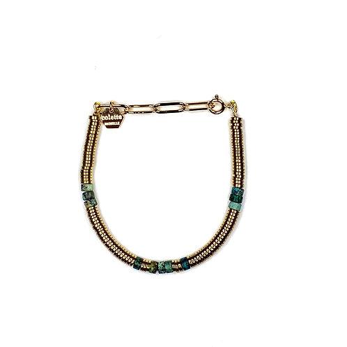 "Bracelet ""Piade"" pierres fines heishi et chaîne forçat or"