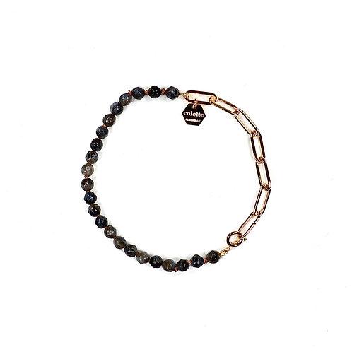 "Bracelet ""Blanche"" Labradorite et chaîne forçat or"